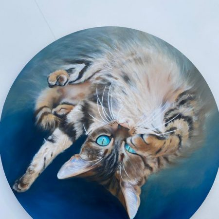 Cat round Canvas